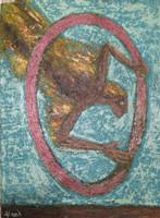 """Alazo - Alejandro Lazo # 6025. """"Pasando detamente,"""" 2012. Acrylic on canvas. 18 x 23.5 Inches."""