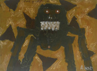 "Alazo - Alejandro Lazo #5938. ""Como y caga,"" 2009. Acrylic on paper. 9 x 12 inches."