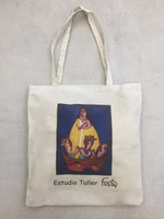 "Canvas Fuster tote bag #423E. Dimensions 15.5"" x 14"" with slim gusset. 25"" from top of strap to bottom of bag."