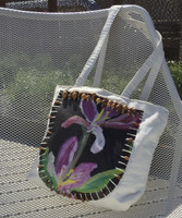 "Canvas bag by Sandra Dooley, double sided  #426D. Dimensions 12"" x 14"" x 4"" gusset. 26"" from top of strap to bottom of bag."