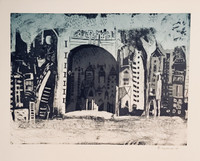 """Bernardo Navarro Tomas #6860. """"Daytime,"""" 2018. Drypoint on Deponte paper 350 gr Edition of 20.  plate size: 17.71 x 23.7 inches, Paper: 22.45 x 27.75 inches"""