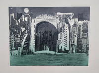 """Bernardo Navarro Tomas #6861. """"Nighttime,"""" 2018. Drypoint on Deponte paper 350 gr Edition of 30  Plate size : 17.71 x 23.7 inches. Paper: 22.45 x 27.75 inches."""