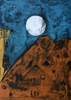 "Bernardo Navarro Tomas #6862. ""Cielo Azul,"" 2018. Drypoint and Etching aquatint on Deponte paper 350 gr Edition of 30.  27.75 x 19.88 inches"