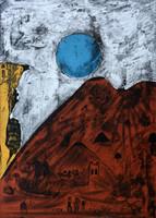 "Bernardo Navarro Tomas #6863. ""Luna Azul,"" 2018. Drypoint and Etching aquatint on Deponte paper 350 gr Edition of 30.  27.75 x 19.88 inches"