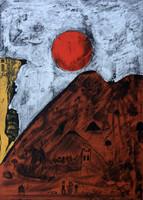 "Bernardo Navarro Tomas #6865. ""Luna Roja,"" 2018. Drypoint and Etching aquatint on Deponte paper 350 gr Edition of 30.  27.75 x 19.88 inches"