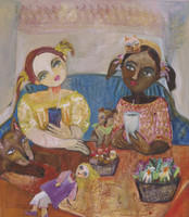 "Sandra Dooley #6852. ""Las amigas,"" 2018. Oil on canvas. 80x70cm /31.5""x 27.5""."