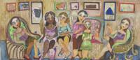 "Sandra Dooley #6854. ""Cafecito,"" 2018. Oil and collage on canvas. 35 cm x 106 cm / 13.75"" x 42.75"""