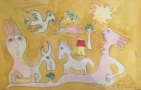 "Fuster (José Rodríguez Fuster) #754 ""Un dia de ciclon,"" 1988. Watercolor on paper. 20 x 29 inches."
