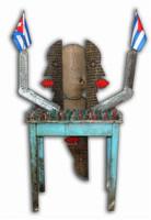 "Joel Jover #6766. ""La isla,"" 2012. Mixed media table. Acrylic on wood with plastic soldiers, cloth flags. 57"" x 24"" x 17"""