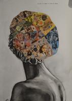 """Marlys Fuego #5798. """"Estudio de mujer con gorrade,"""" 2013. Mixed media on paper, 39.5 x 27.75 Inches SOLD!"""