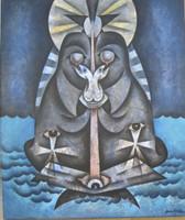 """Juan Moreira  #4560. """" La virgen de la tabla,"""" 2006. Oil on canvas. 22.75"""" x 29."""""""