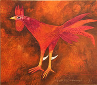 "Montebravo (José Garcia Montebravo)  #4952. ""El gallo rojo,"" 2008. Oil on canvas. 23.75"" x 27."""