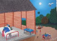"""Roberto Torres Lameda  #5713. """"la noche del parto,"""" 2011. Oil on canvas. 13"""" x 18."""""""