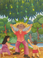 "Giober Lopez Justy #5339. ""Recojida de mango,"" 2010. Oil on canvas, 10.5 x 7.5 Inches."