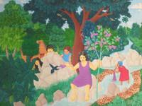 """Daniel Alvarez Arias #9012. """"La joven, el colibri,"""" 2011. Oil on canvas. 13 x 16 Inches."""