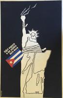 """Ñiko (Antonio Perez) """"Fidel seguro a los Yankees dale duro,"""" 1980. Silkscreen print. 29.5 x 20 inches."""