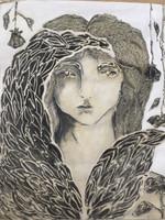 "Karang (Karyna Alonso) #6203. Series: ""Alas, Romeo,"" 2011. Mixed media on canvas. 39 x 32 inches"