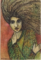 "Karang (Karyna Alonso) #6206. Untitled, 2008. Mixed media on handmade paper. 16""x10"""