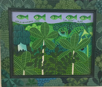 """El Estudiante (Luis Rodriguez Ricardo) #6209 (SL). """"Los peces,"""" 2003. Oil on canvas,  10.5 x 12.5 Inches. SOLD!"""