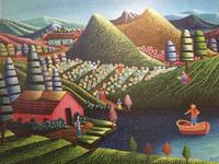 """Magnolia Betancourt #6169. """"La nina de la vorca,"""" 2015. Acrylic on canvas, 17.5 x 24.5 Inches. SOLD!"""