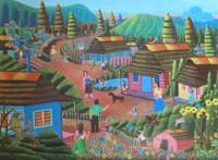 """Magnolia Betancourt #6095. """"Arbol de la vida,"""" 2013. Acrylic on canvas. 23.5 x 31.5 inches. SOLD!"""