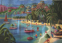 """Magnolia Betancourt #7103.  """"Un dia de verano,"""" 2015. Oil on canvas. 27 x 39 Inches. SOLD!"""