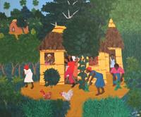 """Daniel Ashe #5328. """"Recojimiento,"""" 2010. Oil on canvas. 15 x 17.5 Inches"""