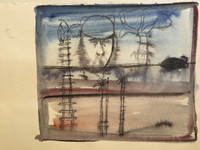 Lester Campa #6185  Untitled, N.D. Water color on paper. 7 x 9.5 inches.