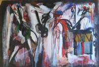 Lescay (Alberto Lescay Merencio) #8087. Untitled, 2000. Mixed media/oil on canvas, 43 x 62 Inches.