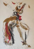 """Lescay (Alberto Lescay Merencio)  #7067. Untitled, 2002. Lithograph print. 12.5"""" x 8.5 inches."""