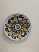 #6538 Untitled, N.D. Ceramic plate. 6 inches diameter