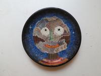 """Edward Bestrad #8025 """" Magica no para un nino"""", 2013. Collage on ceramic plate, 8 inches diameter.  $110"""