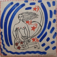 Alicia Leal #6150 Untitled, ND. Hand painted tile. 12 x12 Inches.