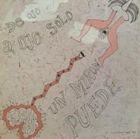 """Carlos Cárdenas #5608.  """"De ojo a ojo solo un miron puede,"""" 1987. Ink on paper.  9 x 9 inches."""