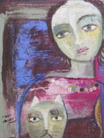 "Sandra Dooley #6127BX. ""Dos,"" 2015. Mixed media/acrylic on canvas, 18 x 16 Inches. SOLD!"