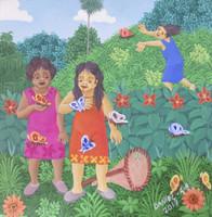"Daniel Alvarez Arias #6597  ""Mariposa,"" 2017. Oil on canvas. 8.25 x 8 inches."