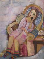 "Sandra Dooley #6654. Interior,"" 2017. Mixed media on canvas. 32 x 24 inches. SOLD!"