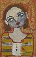 """Sandra Dooley #6653. """"La Rubia,"""" 2017. Mixed media on canvas. 15.5 x 10 inches."""