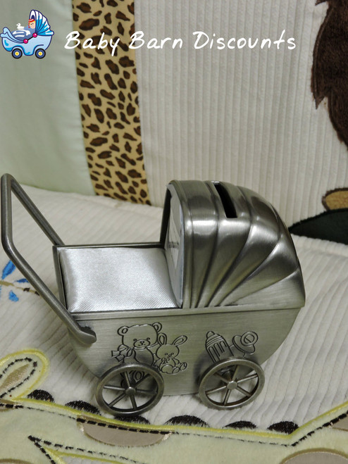 Money Box Pram - Pewter Finish