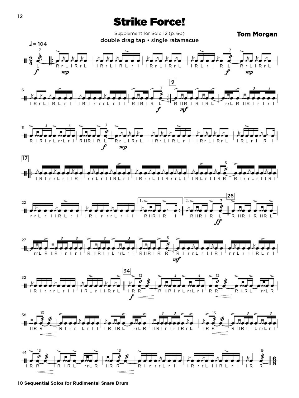 10 Sequential Solos For Rudimental Snare Drum - C. Alan ...