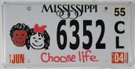 2004 Jun Mississippi Choose Life License Plate