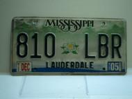 2005 MISSISSIPPI Magnolia License Plate 810 LBR
