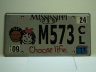 2011 MISSISSIPPI Choose Life License Plate M573 CL