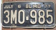 1977 July Missouri 3M0-985 License Plate DMV Clear YOM