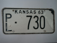 1963 KANSAS License Plate PL 730