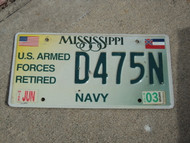 2003 MISSISSIPPI Armed Forces NAVY License Plate D475N