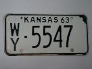 1963 KANSAS License Plate WY 5547
