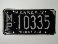 1966 KANSAS Midway USA License Plate MP 10335