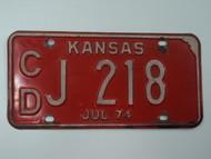 1974 KANSAS License Plate CD J 218