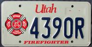 Utah Firefighter 4390R License Plate Fire Fighter